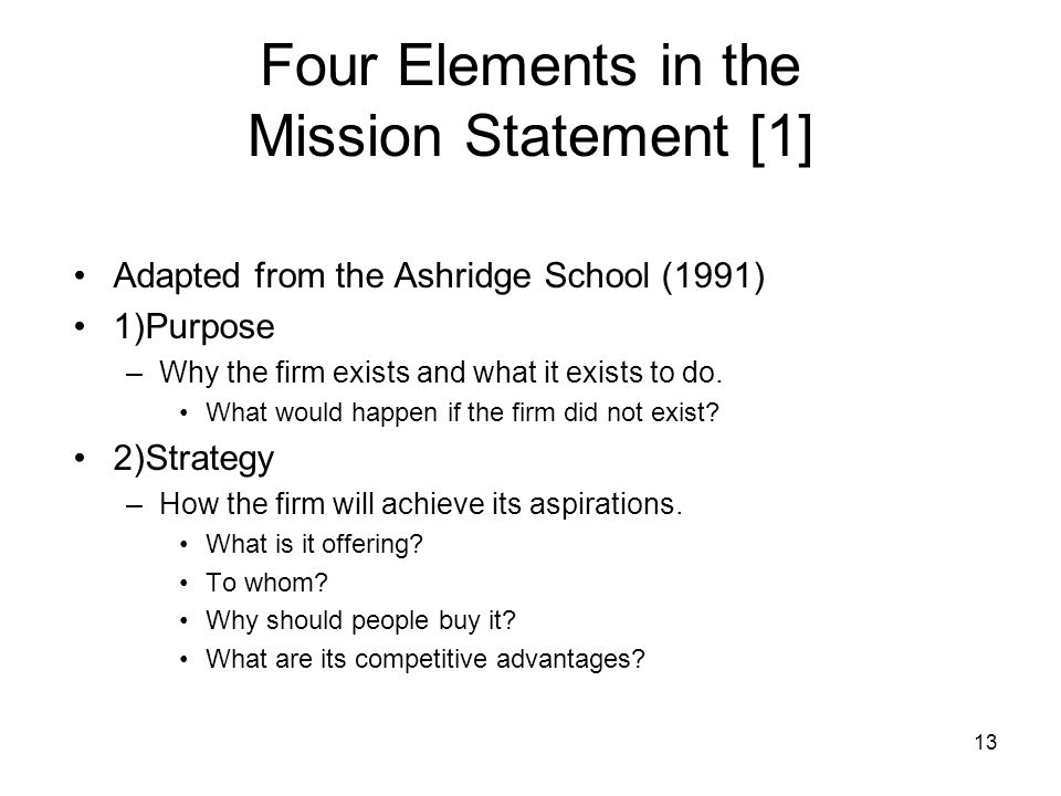 Four Elements in the Mission Statement [1]